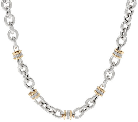 """As Is"" Italian Silver & 14K Diamond Station 20"" Necklace, 61.2g"