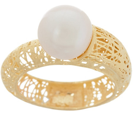Italian Gold Cultured Pearl Ring 14k Gold