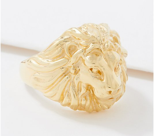 Italian Gold Polished Lion's Head Ring, 14K Gold