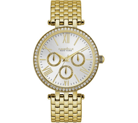 Caravelle New York Women's Goldtone Crystal Watch
