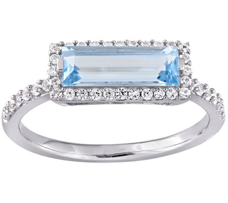 Sterling Silver 1.90 cttw Blue Topaz & White Sapphire Ring