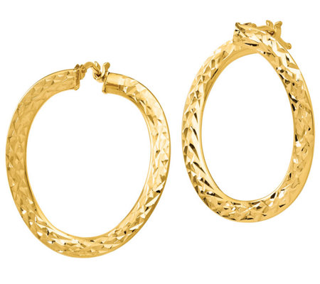 Italian Gold Twisted Hoop Earrings 14k