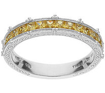Judith Ripka Sterling Canary Diamonique Channel-Set Band Ring - J386969