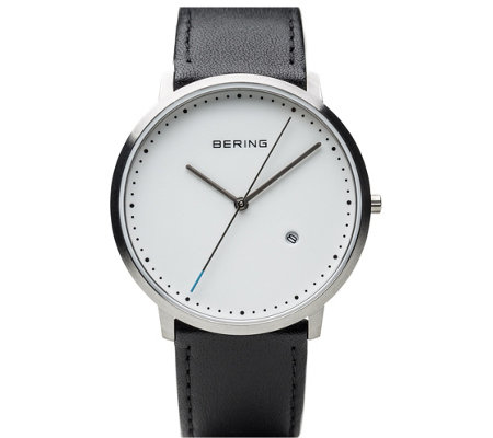Bering Unisex White Dial Leather Strap Watch