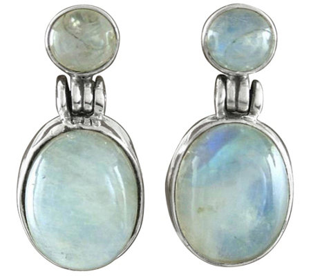 Novica Artisan Crafted Sterling Moonstone Dangle Earrings