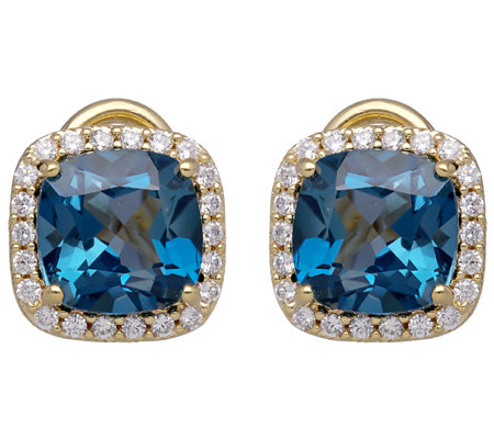 Judith Ripka 14K Clad Diamonique & Blue Topaz Earrings