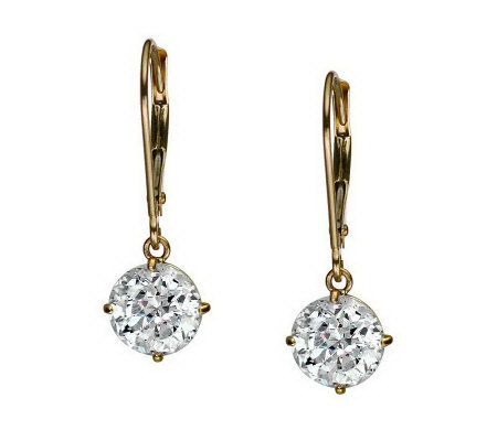 Diamonique 100 Facet 3 ct tw Lever Back Earrings, 14K Gold