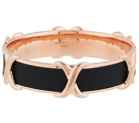 Bronze Polished 'X' Design Leather Inlay Round Bangle by Bronzo Italia