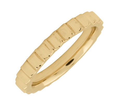 Simply Stacks Sterling 18K Yellow Gold-Plated 3.25mm Step Ring