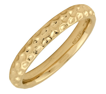 Simply Stacks Sterling 18K YellowGold-Plated Dimple 3.25mmRing
