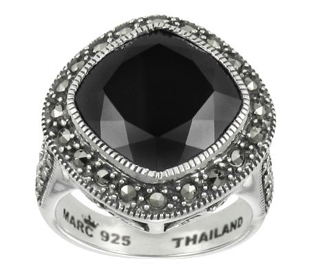 Suspicion Sterling Marcasite Cushion Cut Onyx Ring