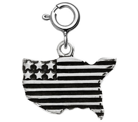 Sterling Usa Flag Charm
