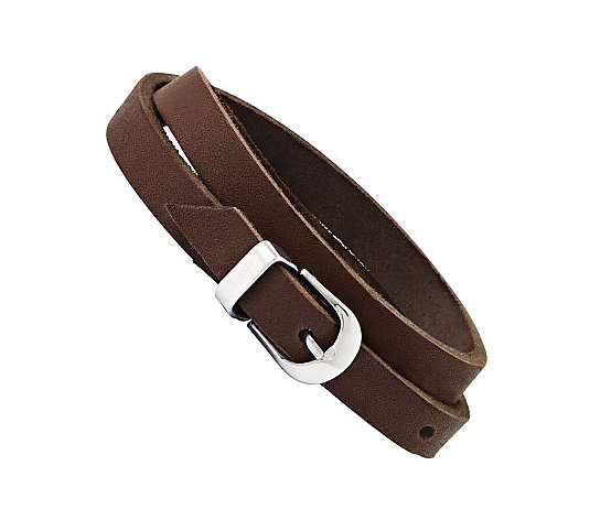 Stainless Steel Brown Leather Buckle Bracelet