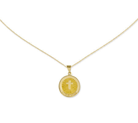 "Polished Round Confirmation Pendant with 18"" Chain, 14K"