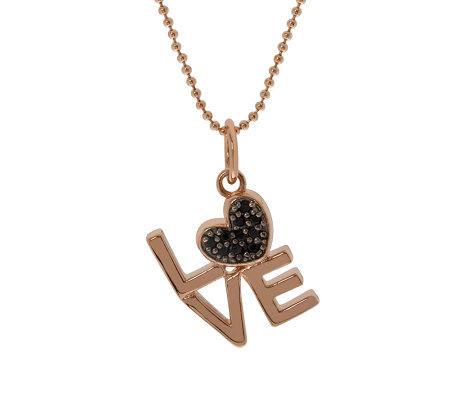"Bronze Black Spinel Love Pendant w/18"" Chain byBronzo Italia"