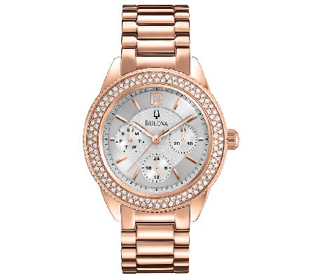 Bulova Ladies Rosetone Crystal Accented Bracelet Watch
