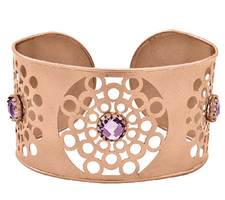 14K Rose Gold-Plated Sterling 6.50 cttw Amethyst Floral Cuff