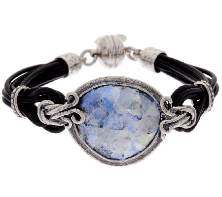Sterling Silver Roman Glass Leather Station Bracelet by Or Paz