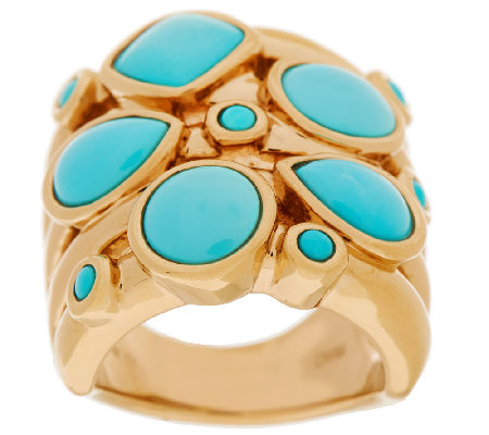 Sleeping Beauty Turquoise Elongated Design Ring, 14K Gold