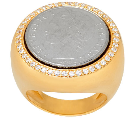 """As Is"" Veronese 18K Clad 100 Lire Coin Crystal Ring"