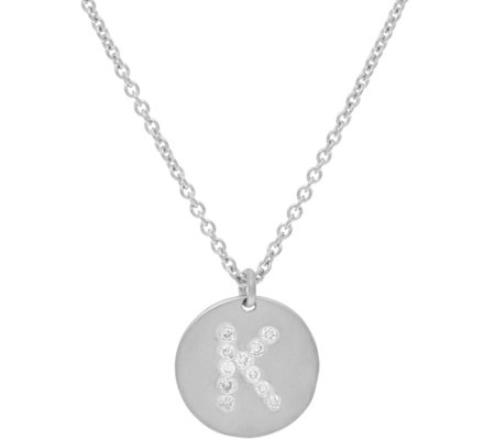 La Soula for Affinity Diamond Initial Pendant w/Chain Sterling