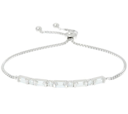 As Is Diamonique Baguette Bar Adjustable Bracelet Sterl
