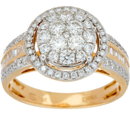1.00 cttw Round Cluster Diamond Ring 14K Gold by Affinity