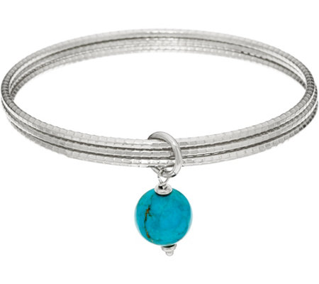 Italian Silver Turquoise Drop Round Multi-bangles Sterling