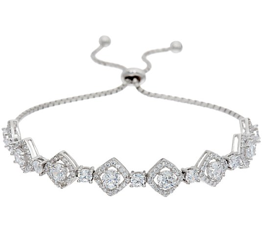 Diamonique Halo Design Adjustable Bracelet, Sterling