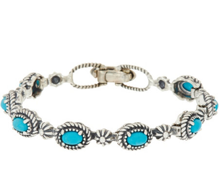 American West Sterling Silver Gemstone & Concha Tennis Bracelet