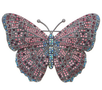 Joan Rivers Midnight Crystal Butterfly Pin   J352470