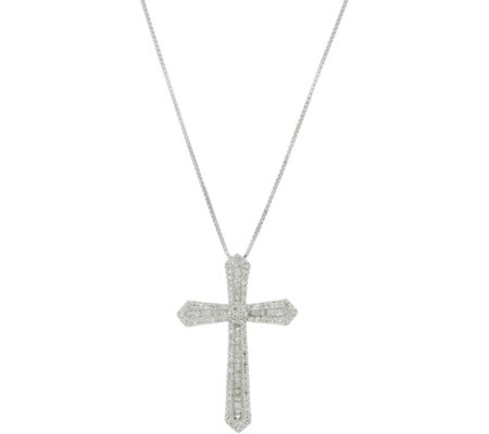 Diamond Cross Pendant w/ Chain, 4/10cttw Sterling, by Affinity