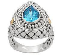 Artisan Crafted Sterling Silver & 18K Gold Pear Shaped Gemstone Ring - J355370