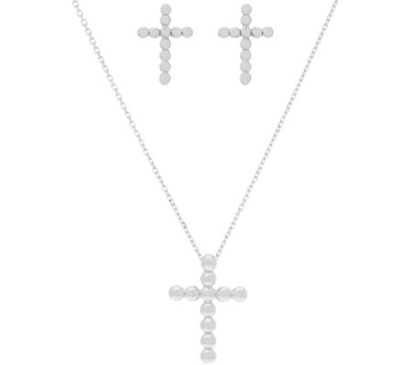 Italian Silver Bitty Cross Pendant and Earrings Set