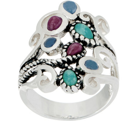 Or Paz Sterling Silver Multi-gemstone Ring