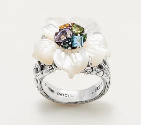 Stephen Dweck Sterling Silver Gemstone Flower Ring