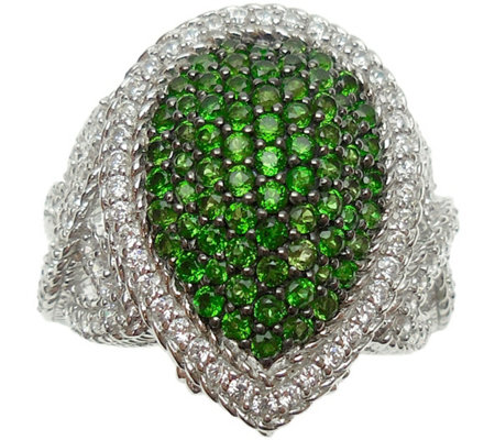 Judith Ripka Sterling & Chrome Diopside Pave Ring