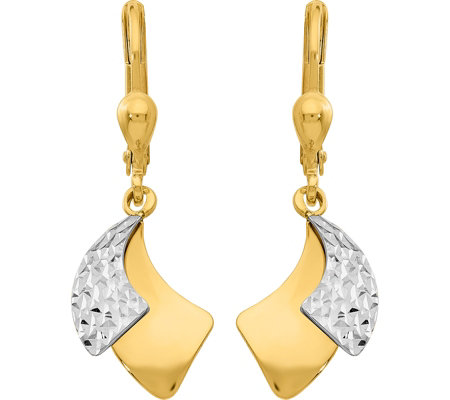 14k Two Tone Double Comma Lever Back Earrings