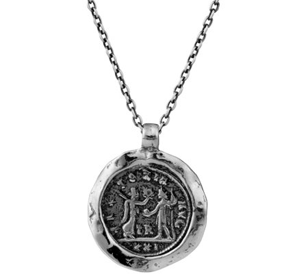Or Paz Sterling Men's Coin Design Pendant w/ Chain
