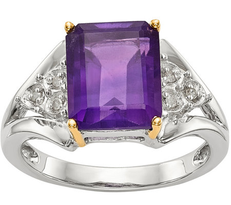 Sterling & 14K Amethyst and Diamond Ring