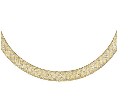 14K Two-tone Mesh Necklace, 5.3g