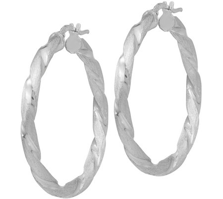 Italian Silver Satin & Polished Twisted Hoop Earrings Sterling