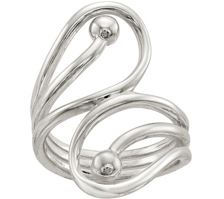 Sterling Cutout Swirl & Bead Ring