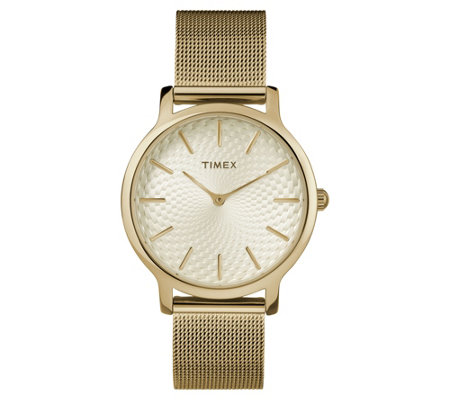 Timex Ladies Metropolitan Goldtone Mesh AnalogWatch
