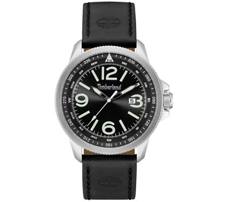 Timberland Men's Stainless Black Leather Watch