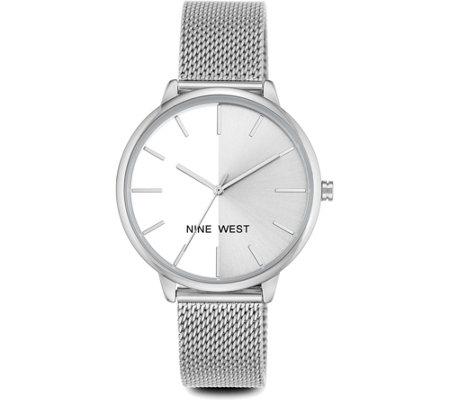 Nine West Ladies Silvertone Laynien Mesh Bracelet Watch