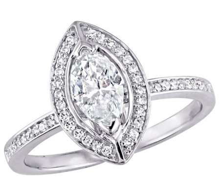 Affinity 14K Gold 3/4 cttw Marquise-Cut DiamondHalo Ring