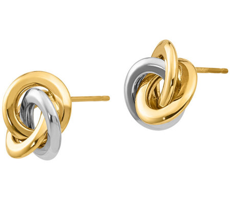 14K Gold Round Love Knot Earrings