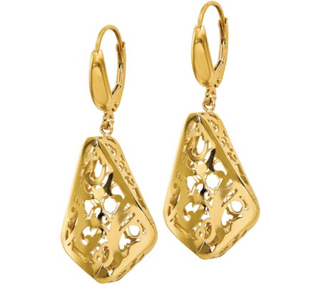 Italian Gold Scroll Lever Back Earrings, 14K