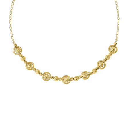 "Italian Gold 17"" Bead Station Necklace 14K, 11.2g"